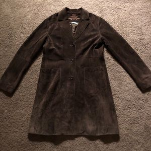 Provence brown suede long coat-S